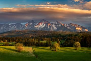 Beautiful spring sunset at Tatra mountains in Poland