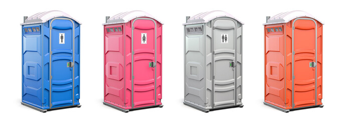 Portable plastic toilet or public facilities of different colors isolated on white.