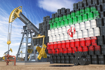 Oil production and extraction in Iran. Oil pump jack and oil barrels with UIranian flag.