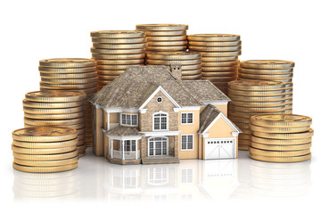 Saving money for buy a house for family. Real estate investments and mortgage concept. House and stack of coins.
