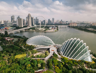 Aerial view of Gardens by the Bay in Singapore.