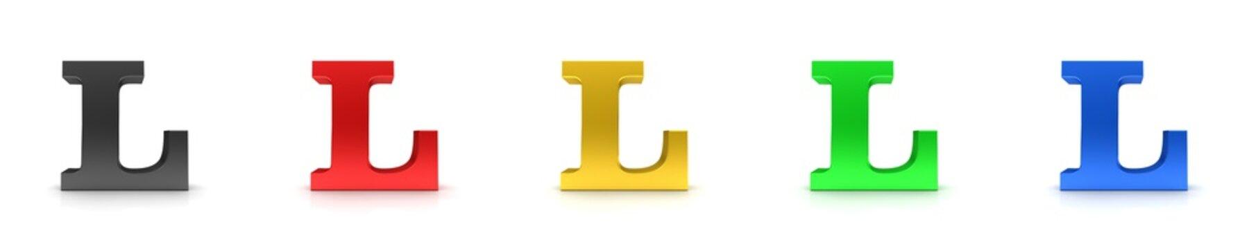 L letter 3d sign L black red gold green blue