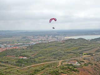 Paragliders flying at Gralha, Portugal