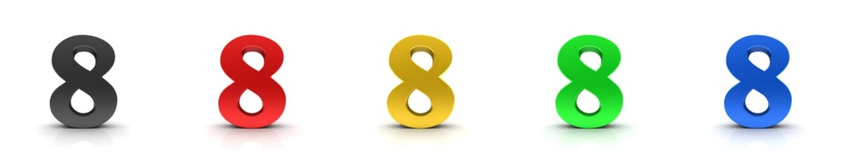 8 eight numbers 3d sign black red gold green blue Wall mural
