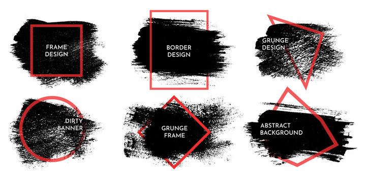 Vector illustration. Detailed closeup brush strokes set. Grungy banner. Dirty graphic background. Design elements for banner, poster, cover, invitation card. Black ink with red line frame