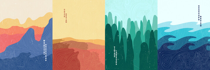 Vector illustration landscape. Wood surface texture. Mountains, desert, forest, sea. Japanese wave pattern. Mountain background. Asian style. Design for poster, book cover, web template, brochure.