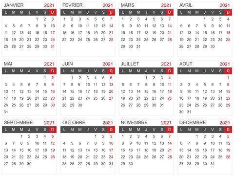 Modèle de calendrier 2021 pour agenda, planning, organiseur - textes vectorisés et non vectorisés sur calques séparés