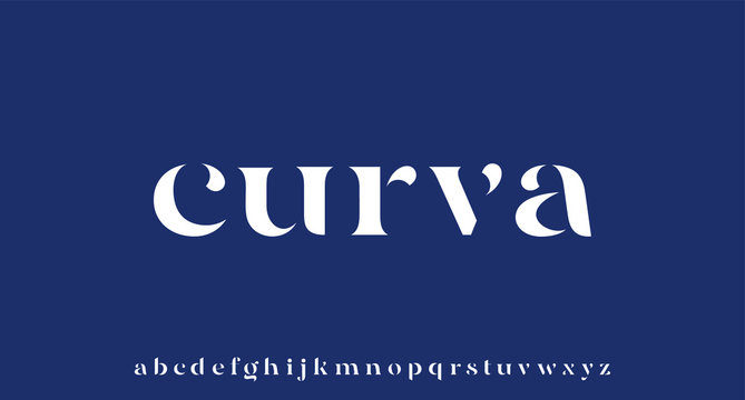 CURVA, elegant luxury and glamour font beautiful alphabet vector