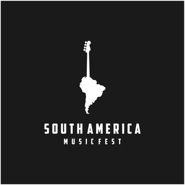 Bass guitar with South America map for music or music festival logo design