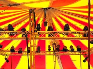 Spotlights In Circus Tent