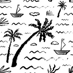 Seamless pattern with hand drawn vector travel objects. Tropical ornament for postcard, greeting card, poster, banner, wallpaper. Funny background  for holiday and party. Textile print. Doodle style