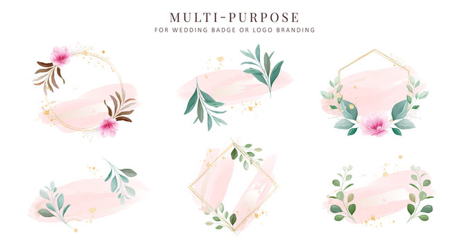 Feminine logo collections, hand drawn modern minimalistic and floral and watercolor badge templates for wedding card, branding,  identity, boutique, salon vector