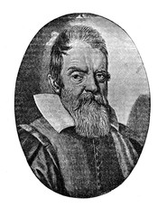 Engraving portrait of Galileo Galilei  (1564 - 1642), Italian astronomer, physicist and engineer,inventor and father of observational astronomy