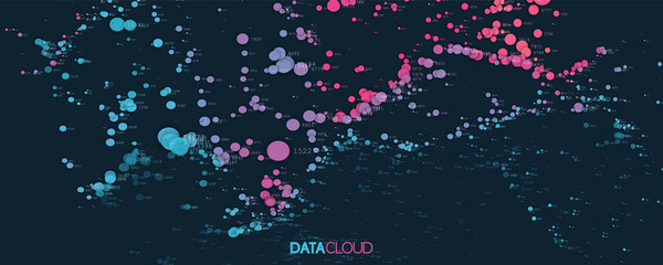 Fotoväggar - Big data cloud visualization. Futuristic infographic. Information cloud computing. Visual data complexity. Complex business chart analytics. Social network representation. Abstract data graph.