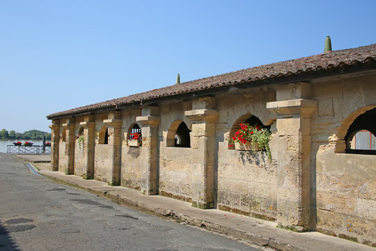 Public medieval bath house or washhouse in the centre of Bourg, also Bourg-sur-Gironde, a commune in the Gironde department in Nouvelle-Aquitaine in southwestern France.
