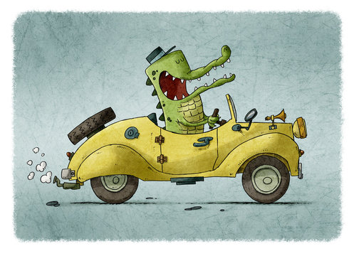 funny illustration of a crocodile with cap driving a yellow old car