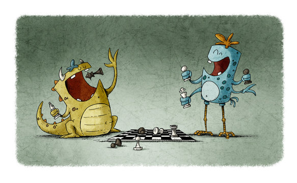 illustration of two funny monsters playing chess and one is putting a piece to his mouth to eat it.