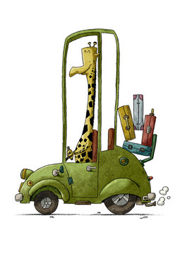 funny illustration of a giraffe driving a green old car. isolated
