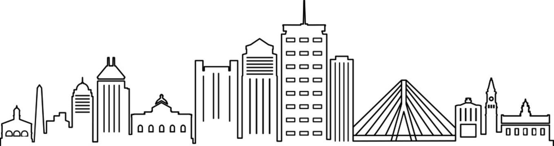 BOSTON City Massachusetts Skyline Silhouette Cityscape Vector