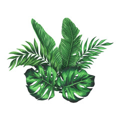 Composition with tropical green and monstera leaves
