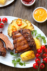 Plated Grilled Pork Ribs and Corn