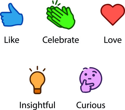 Linked In Reactions. Social Network icon set. Like, celebrate, love, insightful, curious.