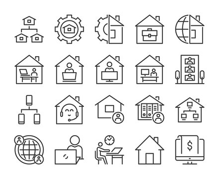 Work at Home icons. Work from Home line icon set. Vector illustration. Editable stroke.