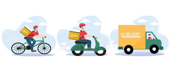 Door stickers Wall Decor With Your Own Photos Online delivery service and E-commerce concept. Fast shipping according to customers orders. Warehouse, truck, scooter and bicycle courier. Food service. delivery home and office. Vector illustration.