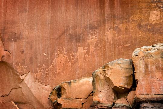 Petroglyphs on rock in Capitol reef national park, Utah, USA
