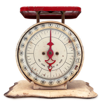 Old vintage kitchen scale, front view. Kitchen tool for chefs, bakers, and home cooks to weigh food. Concept for healthy lifestyle. Accurate tracking of calories and helps with portion sizes.