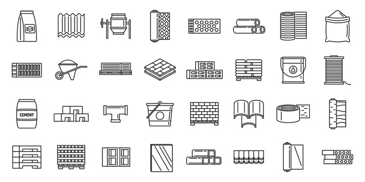 Modern construction materials icons set. Outline set of modern construction materials vector icons for web design isolated on white background