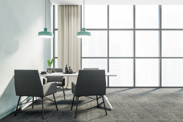 Panoramic blue dining room interior, grey chairs