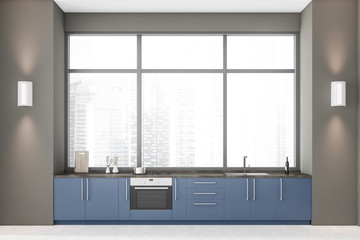 Panoramic grey kitchen with blue countertops