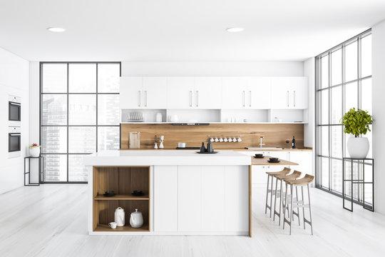 Panoramic white kitchen with bar