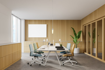 Photo sur Toile Pays d Asie Wooden office, colorful chairs and poster