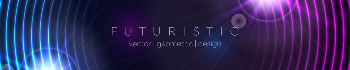 Fotobehang - Abstract glowing banner with blue purple neon circles. Hi-tech futuristic vector background