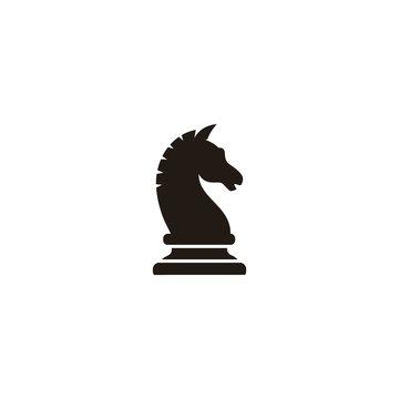 Black chess knight horse stallion silhouette icon logo design