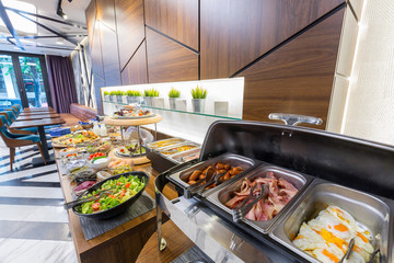 Buffet breakfast table in modern hotel