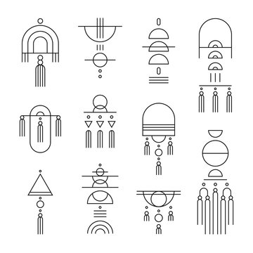 Geometric Wall Hanging. Vector illustrations in line art style