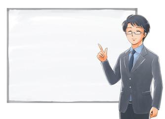ホワイトボードの前で指を指す笑顔の社会人のイラスト