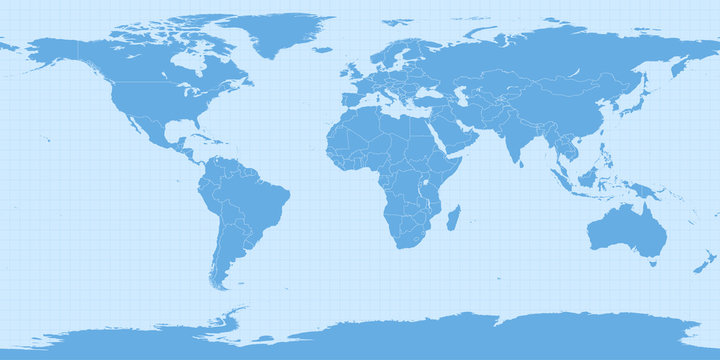 World map in equirectangular projection (equidistant cylindrical projection, geographic projection, EPSG:4326). Detailed vector Earth map with countries' borders and 5-degree grid.