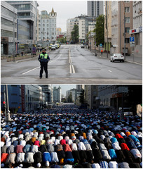 A combination picture shows a street next to the Moscow Cathedral Mosque during Eid al-Fitr in 2020 and 2013