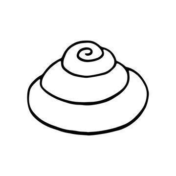 Vector cinnamon roll bun isolated on a white background. Stock illustration of outline roll bun for the icon, logotype for cake shop, bakery, pastry shop, confectionery.