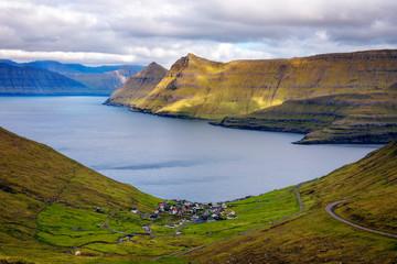 Wall Mural - Panorama of mountains around village of Funningur on Faroe Islands