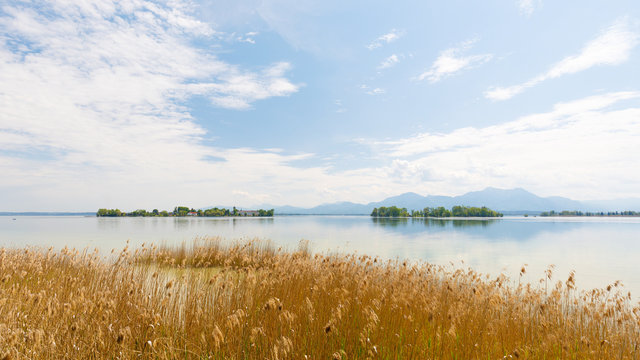 Panorama of Island Fraueninsel and Krautinsel on lake Chiemsee