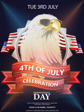 Vector flyer, banner or poster with American bald eagle in sunglasses against American flag. Independence day of the USA 4th July. EPS 10