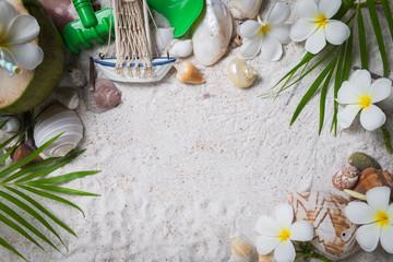 Photo sur Toile Frangipanni Shells and plumeria flowers on sand background,