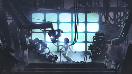 Foto auf AluDibond Grandfailure Restore the power to the last one. Female robot repairing itself in the factory, digital art style, illustration painting