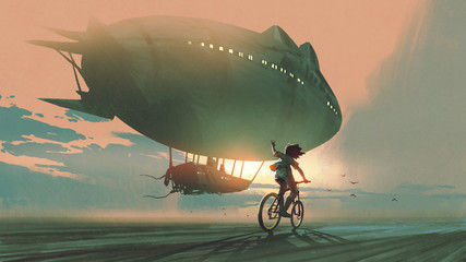 Foto op Aluminium Grandfailure See you in the next century. kid rides a bicycle waving good bye to the airship at sunset, digital art style, illustration painting