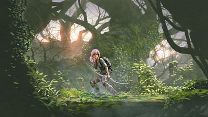 Foto op Aluminium Grandfailure young hunter in the deep forest. adventure girl holding a bow in the forest, digital art style, illustration painting